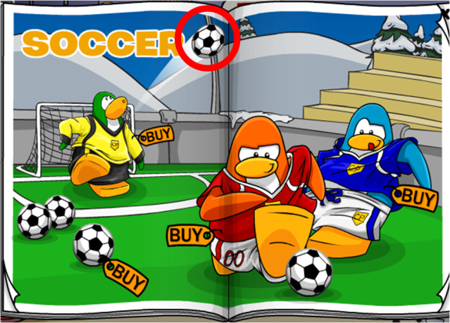 To get the green soccer jersey from the sports catalog, click on the soccer ball to the right of the word 'SOCCER'