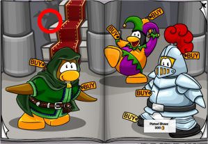 To get the blue dragon costume, click on the dragon's shadow on the left of the staircase (Above the penguin in Green.)