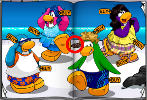 To get the canteen, click on the brown seashell next to the green penguins head.