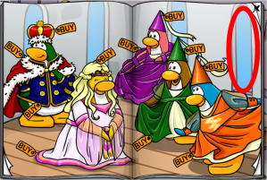 To get the woodsmen's hat, click on the last window to your right (above the penguin with the orange dress.)